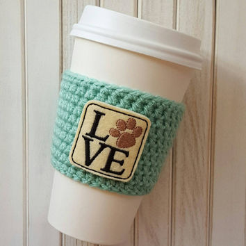 Coffee Cozy - Crochet Coffee Cozy  - Coffee Cup Sleeve - Coffee Gift - Coffee Gift Ideas - Coffee Sleeve - Mason Jar Cozy - Animal Lover