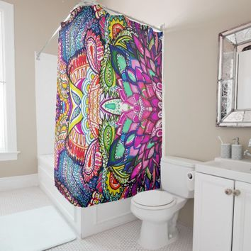 Shower Curtain Colorful Feather Zen Art
