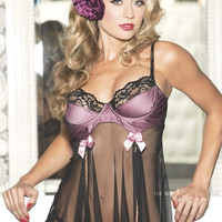 Purple Lace Underwire Cup Mesh Babydoll