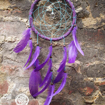 Dream Catcher - Inner Peace  - With Crystal Prism, Turquoise Web, Purple Feathers and Frame - Boho Home Decor, Nursery Mobile