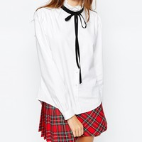 Jack Wills High Neck Shirt With Tie Neck Detail at asos.com