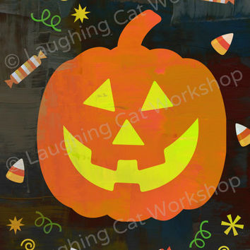 Halloween Pumpkin art print Pumpkin Halloween poster Halloween wall decor kids boys girl Halloween party decor jack o lantern candy wall art