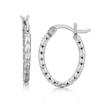 Sterling Silver Rhodium Plated Small Oval Hoop Diamond Cut Textured Earrings