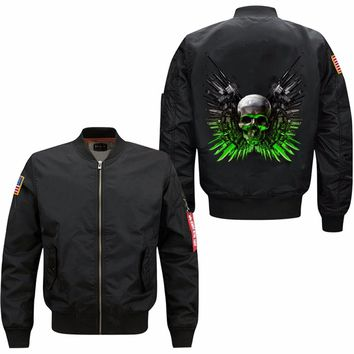 Men's Hugely Popular Bomber With Skull&Skeleton Printing on the back Men's Thermal Flight Jackets