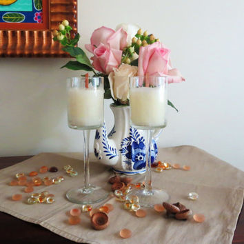 Pure white beeswax candles in Tuscany style etched wine glasses , pure beeswax container candles with wooden wicks