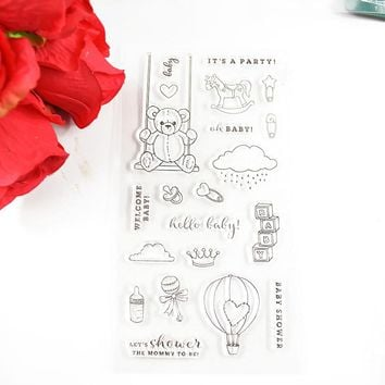 Baby shower party Cute Teddy bear To be Mom Eco-friendly Transparent Stamp For DIY Scrapbooking/Card Making/ Decoration Supplies