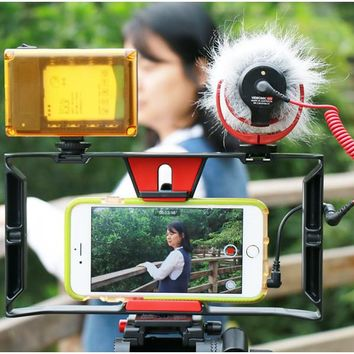 Handheld Smartphone Video Rig Case for iPhone X, Samsung, Phone Rig Stabiliser for Live stream Youtube Filmmaking Vlogger