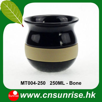 ceramic mate tea cups with silicon heat insulated holder