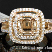 Diamond Engagement Semi Mount Ring 14k Yellow Gold Setting Cushion 6mm