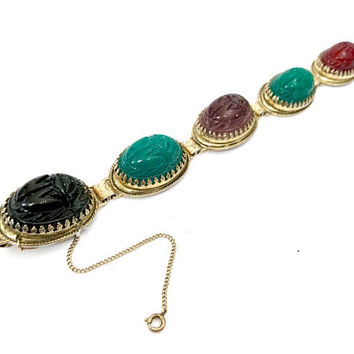 Whiting & Davis Egyptian Revival Bracelet, Five Large High Domed Carved Glass Scarab Cabs, Purple Red Green and Black, Signed, Gift for Her