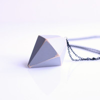 chunky Diamond prism pendant necklace T2. geometric jewelry. concrete grey faceted pendant on long black chain. urban science style