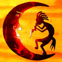 10 inch Kokopelli on Moon Red Metal Southwestern Steel Wall Art Ormanent Magnet