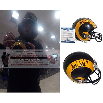 Eric Weddle Autographed Los Angeles Rams Throwback Logo Riddell Mini Football Helmet, Proof Photo, Beckett S38138