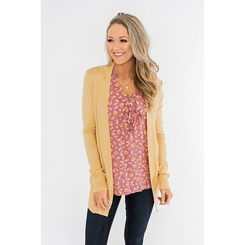 Light Weight Open Front Cardigan- Golden Yellow