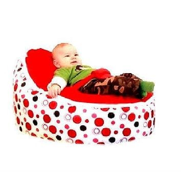 Babybooper Beanbag Soft Baby Cozy Baby Sitting Chair Nursery Pillow Safe (Cherry Bubble Fizzy)