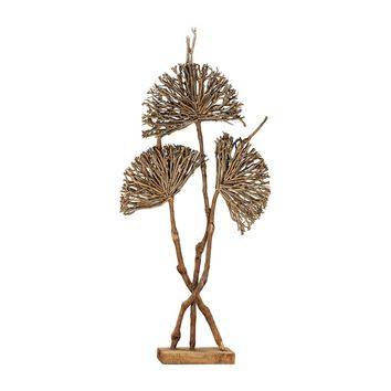 Pensacola Wooden Botanical Fan Sculpture Natural