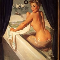 ELVGREN - JEEPERS PEEPERS  - Bathroom Art Deco Pin-Up - Illustration Calendar Art  8 X 11 Pinup Cheesecake