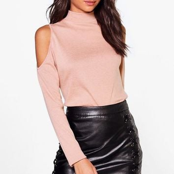 Tall Ayla Cold Shoulder High Neck Jumper | Boohoo