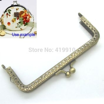 Free Shipping-2PC Metal Frame Kiss Clasp For Purse Bag Parts Accessories Lock Handle DIY Handmade Antique 12.7x6.6cm J2611