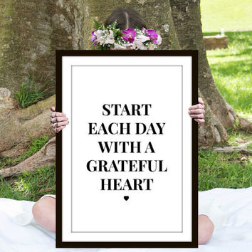 Grateful Heart Print, Inspirational Quote, Motivational Poster, Gift Ideas, Shabby Chic, Wall Decal, Home Decor, Typography Print - PT0113