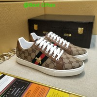 Simple-Gucci Men's Embroidery Leisure Sports Shoes Shoes Best Quality beige
