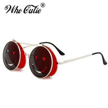 WHO CUTIE 2018 Round Flip Up Sunglasses Men Women Vintage Retro Steampunk Metal Frame Red Yellow Clip On Funny Sun Glasses OM486