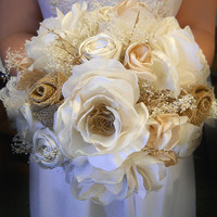 """White and Ivory Silk Open Rose Burlap Bridal or Bridesmaid Bouquet. Available as medium 8"""" or large 10"""". Made to Order."""