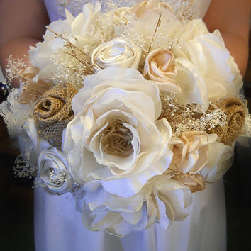"White and Ivory Silk Open Rose Burlap Bridal or Bridesmaid Bouquet. Available as medium 8"" or large 10"". Made to Order."