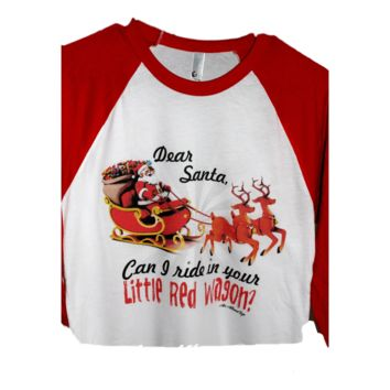 Little Red Wagon Raglan Tee, Red Multi