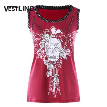 VESTLINDA Women Chains Embellished Floral Skull Tank Top Casual Streetwear Women Tops New Summer Fashion Women Tanks Clothes