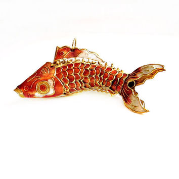 Articulated metal enamel koi fish from vintagepennylane on for Koi fish ornament