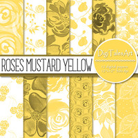 Floral digital paper ROSES MUSTARD YELLOW, scrapbook, watercolor background, floral roses clipart pattern, invitations cards collage