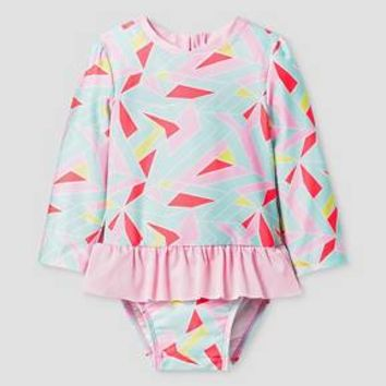 Baby Girls' Geo Print One Piece Skirted Rash Guard Cat & Jack™ - Pink