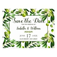 Elegant Olive Leaf Boho Garden Save the Date Postcard