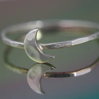 Crescent Moon ring sterling silver ring by CapturedIllusions