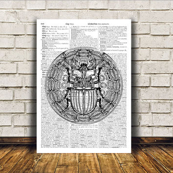 Insect art Scarab poster Dictionary print Modern decor RTA262