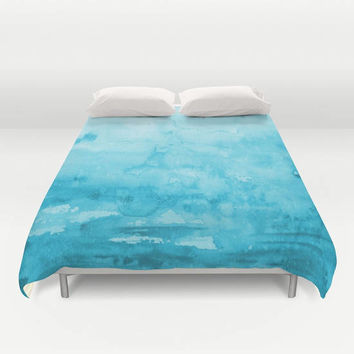 "Aqua Blue Watercolor Duvet Cover or Comforter, ""Immersion"" duvet or comforter, aqua, coastal, art,  beautiful, bedroom decor"