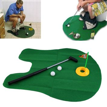 Potty Putter Toilet Golf Game Mini Golf Set Mini Toilet Golf Game Novelty Gag Gift Toy Mat Funny toys New arrival