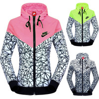 """NIKE"" Women Zip Hooded Sweatshirt Jacket Sport Cardigan Coat Windbreaker Sportswear"
