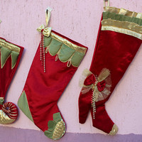 Red Christmas Stockings Chic Stocking Personalised Stocking set BUY 3 GET 1 FREe Express SHiPPinNG