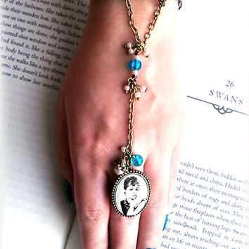 """Slave Bracelet OOAK """"Oh, Audrey!"""" Audrey Hepburn Hand Flower, Cabochon Ring w Gingham Bow Bracelet, Pearl & Turquoise Beaded Chain, Classic!"""
