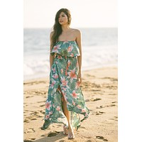 Serena Tropical Print Strapless Maxi Dress