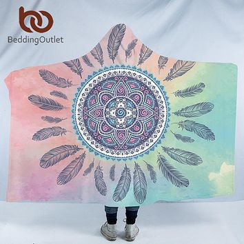 BeddingOutlet Mandala Hooded Blanket for Adults Kids Pink Blue Sherpa Fleece Woman Throw Blanket Microfiber Bohemian on the Sofa