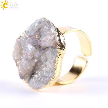 CSJA Natural Sparkling Sun Onyx Finger Rings for Ladies Men Druzy Gem Stone Bead Gold Color Adjustable Luxury Wedding Bands E691
