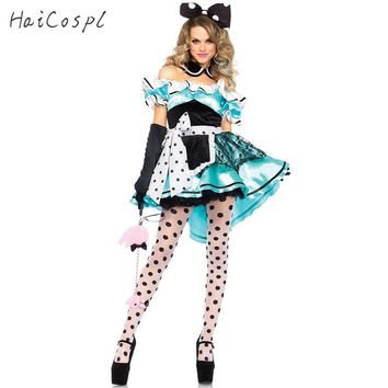 Halloween Sexy Dress  Women Girls Alice in Wonderland Cosplay Costumes Off Shoulder Dot Party Fancy Maid Dresses