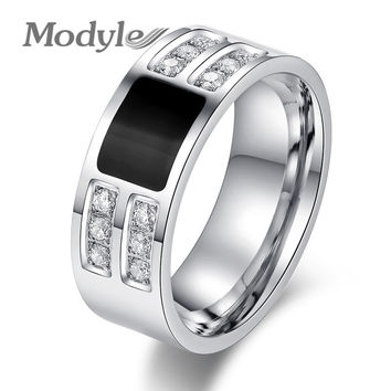Men's ring  Stainless Steel Beauty Crystal Mens Ring