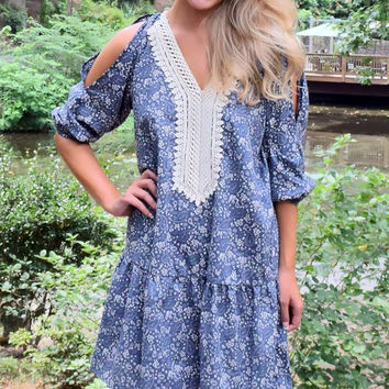 Fall Into You Open Shoulder Floral Drop Waist Dress – Blue