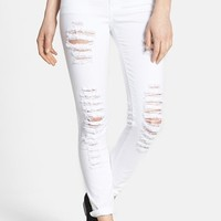 SP Black Destroyed Low Rise Skinny Jeans (White) (Juniors)