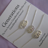 Generations Necklace. Family Necklace. Sisters. Grandmother Mother Daughter. Granddaughter. Inspirational Jewelry