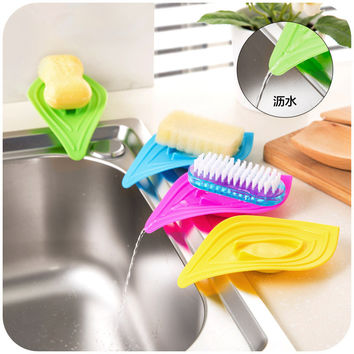 vanzlife multifunctional slip ring leaves soap box drain and clean soap dishes kitchen sink sponge holder